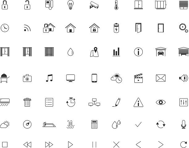 stockillustraties, clipart, cartoons en iconen met home automation icon set, smart home,thin minimalistic, line, vector - photography curtains