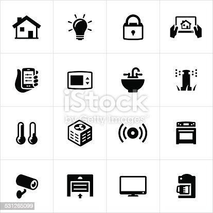 Home automation or smart home infographic. Illustration, home automation, technology, house, light bulb, lighting, lock, tablet pc, smartphone, thermostat, sink, sprinkler, thermometer, alarm, garage door, coffee maker, camera, security, oven, air conditioner, television.