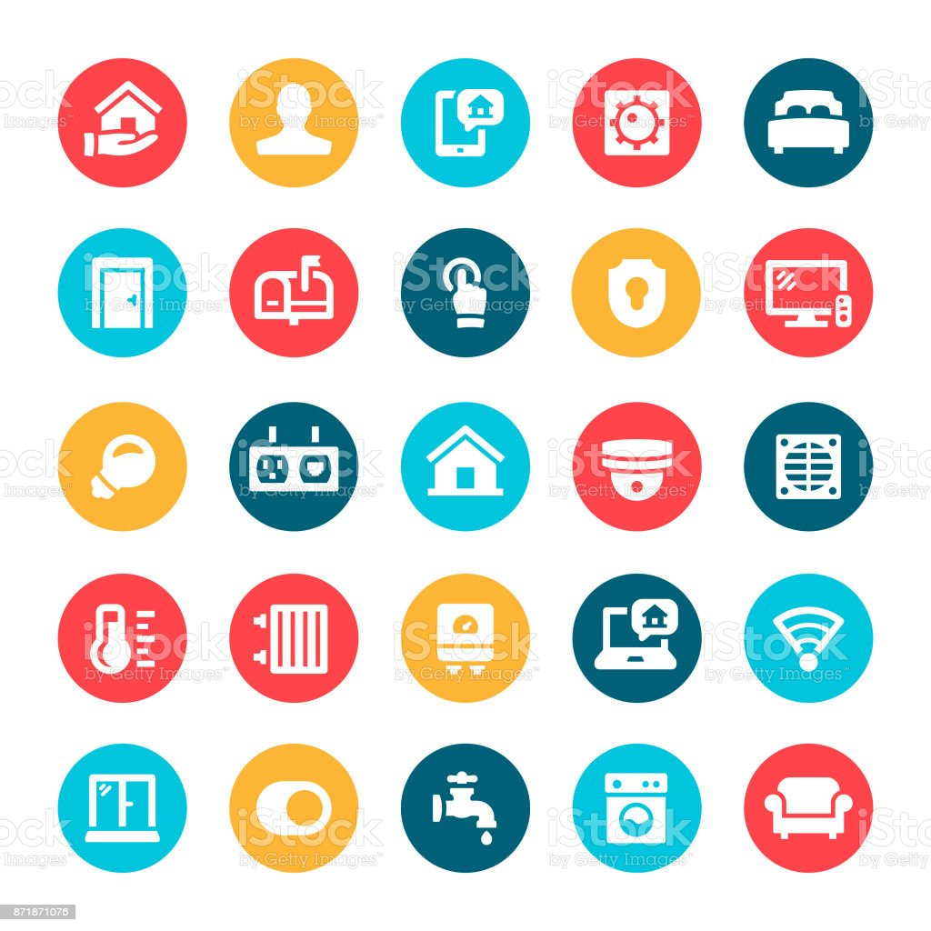 Home Automation Icons Stock Vector Art & More Images of Adult ...