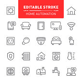 Home automation, smart home, house, icon, editable stroke, ounline, icon set, technology