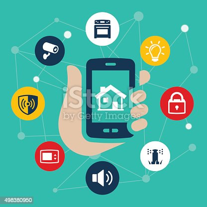 An illustration of a home automation or smart home concept. The illustration shows a smartphone being used as the control center for appliances found in the home. Items include a camera, alarm, stove, lights, thermostat, audio, locks and sprinkler system.