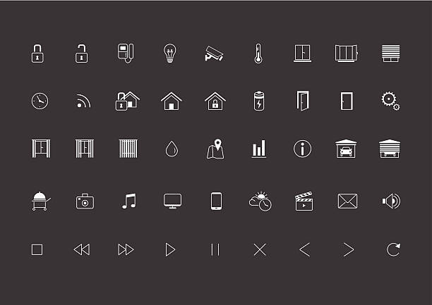 stockillustraties, clipart, cartoons en iconen met home automation, smart home icon set, vector images - photography curtains