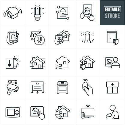 A set of home automation icons that include editable strokes or outlines using the EPS vector file. The icons include home security, smarthome, home lighting using home automation, locks using automation, using a smartphone and tablet pc to control smarthome systems, smart outlet, sprinkler system, automated HVAC, security camera, automated garage door, oven, remote control, automated window blinds, thermostat, television and other smarthome related icons.