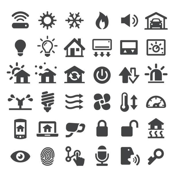 illustrations, cliparts, dessins animés et icônes de icônes vectorielles domotique - chaleur