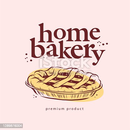 istock Home bakery logo design with hand drawn sweet pie illustration. 1289876004