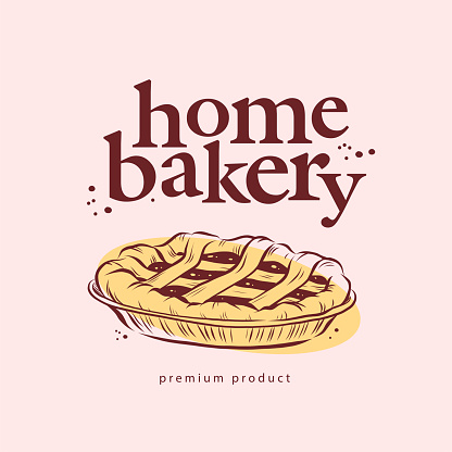 Home bakery logo design with hand drawn sweet pie illustration.