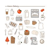 Home bakery. Vector set with hand drawn doodles on the theme of kitchen. Sketches for use of design.