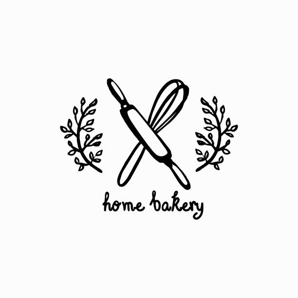 home baking icon vector bakery label. Graphic icon for home baking. Monochrome kitchen attributes icon in hand draw, Doodle style. rolling pin stock illustrations