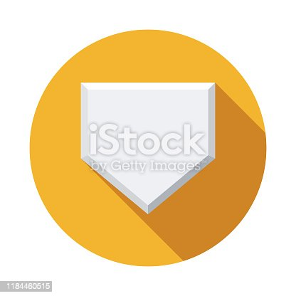 A flat design baseball icon with a long shadow. File is built in the CMYK color space for optimal printing. Color swatches are global so it's easy to change colors across the document.