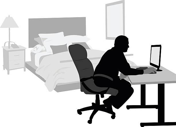 ホームオフィスとベッドルーム - 在宅勤務点のイラスト素材/クリップアート素材/マンガ素材/アイコン素材