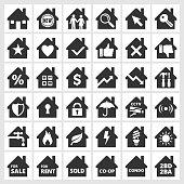 Home black & white icon set