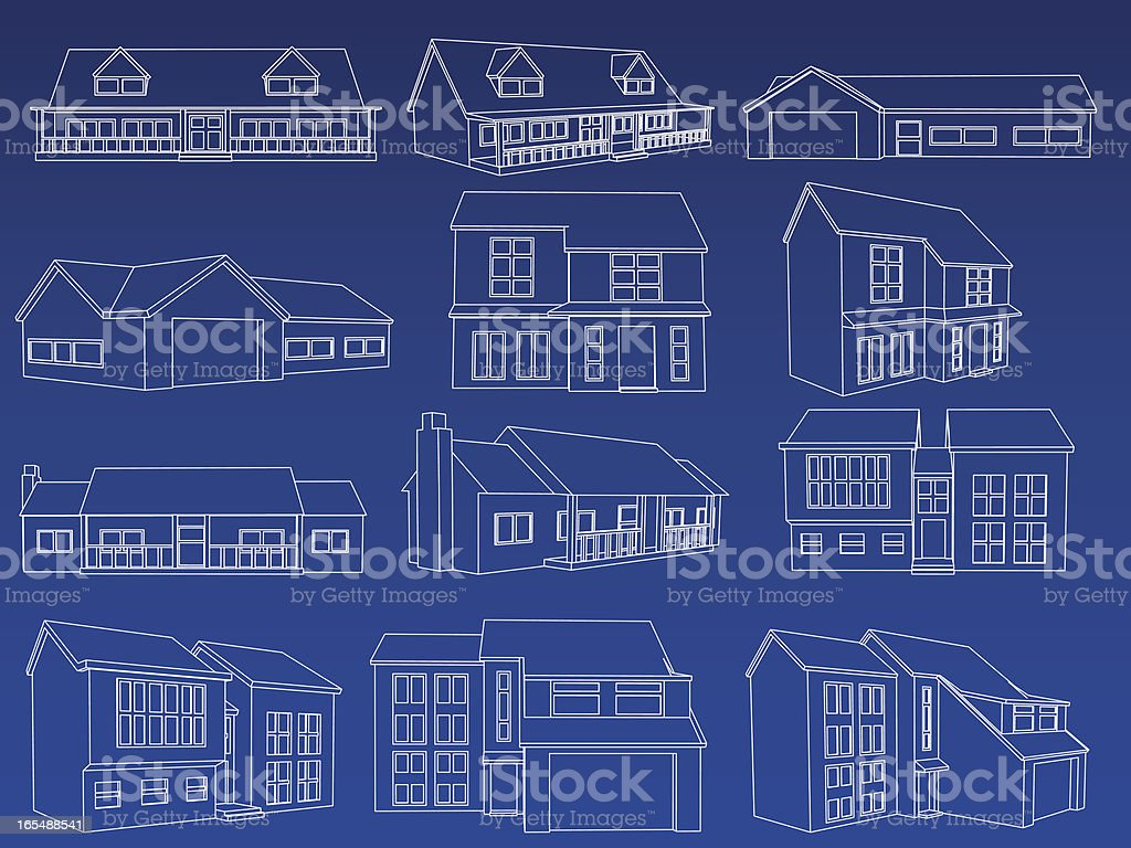 Home blueprint collection stock vector art 165488541 istock home blueprint collection royalty free stock vector art malvernweather Gallery