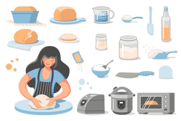 ilustrações de stock, clip art, desenhos animados e ícones de home bread - baking bread at home