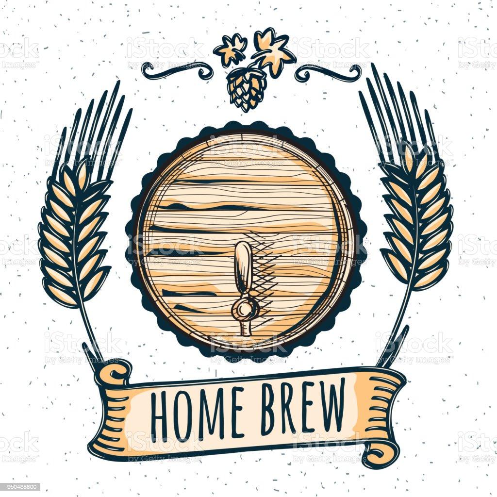Home Brew Beer Emblem Stock Illustration - Download Image Now
