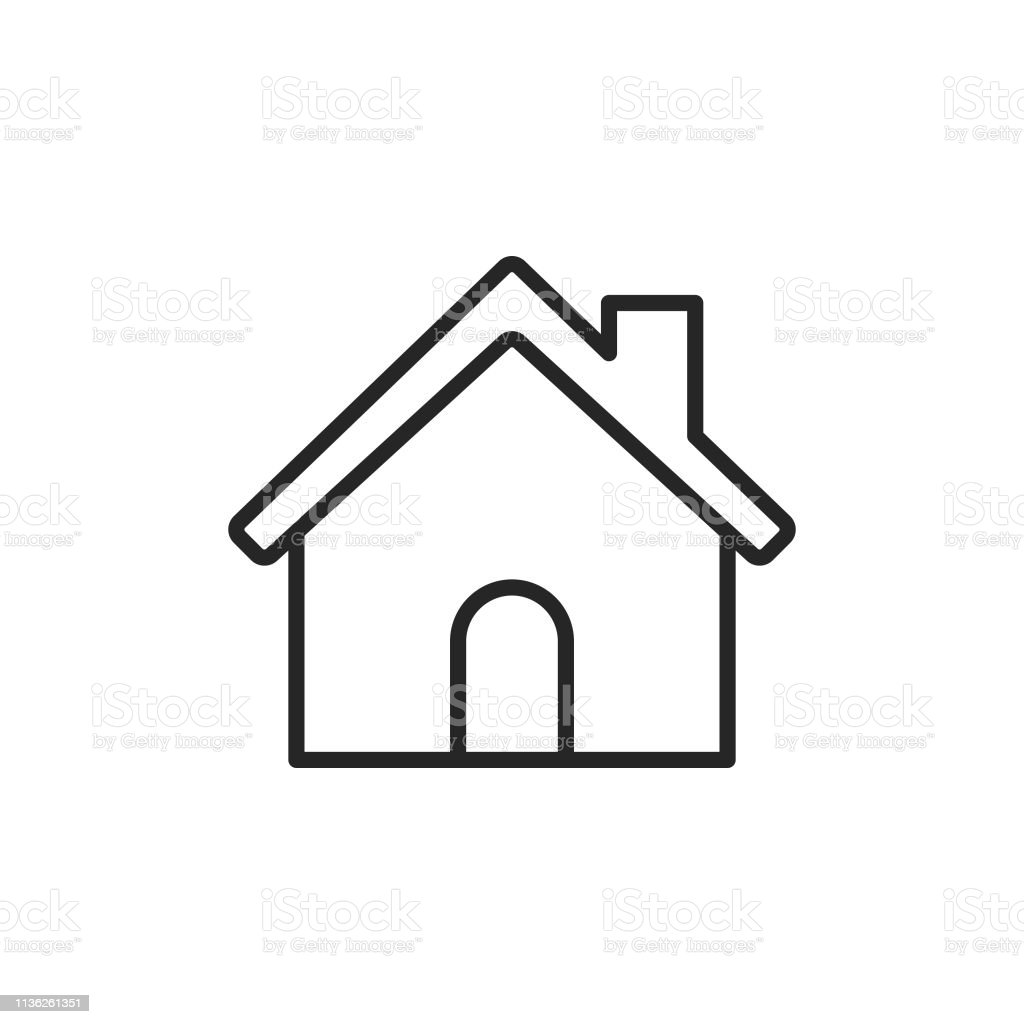 Home Building Line Icon. Editable Stroke. Pixel Perfect. For Mobile and Web. - Векторная графика Абстрактный роялти-фри
