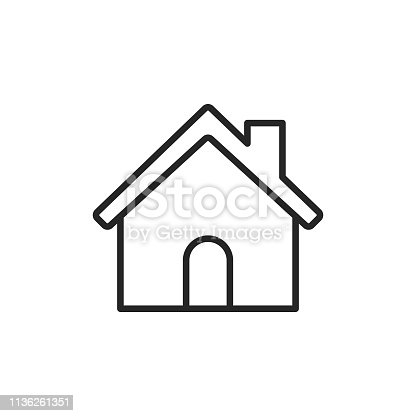 istock Home Building Line Icon. Editable Stroke. Pixel Perfect. For Mobile and Web. 1136261351