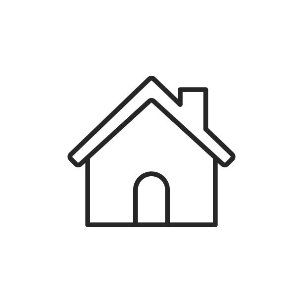 Home Building Line Icon. Editable Stroke. Pixel Perfect. For Mobile and Web. Outline Icon on White Background. house stock illustrations