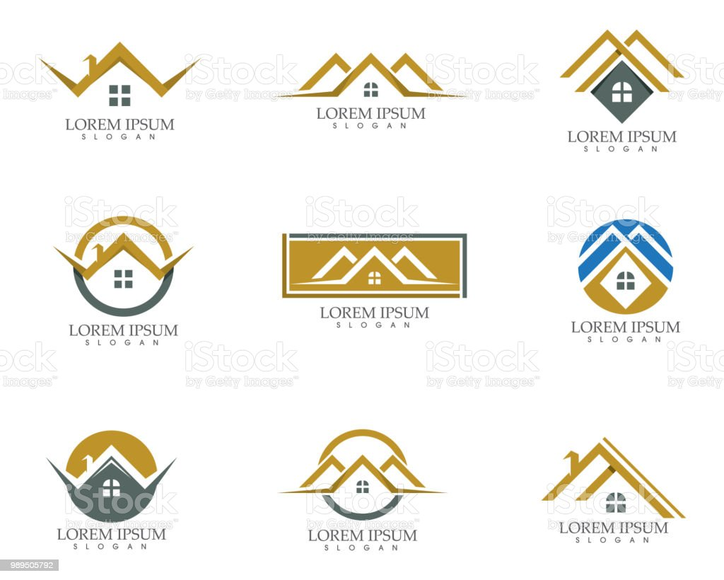 home buildings logo and symbols icons template vector art illustration