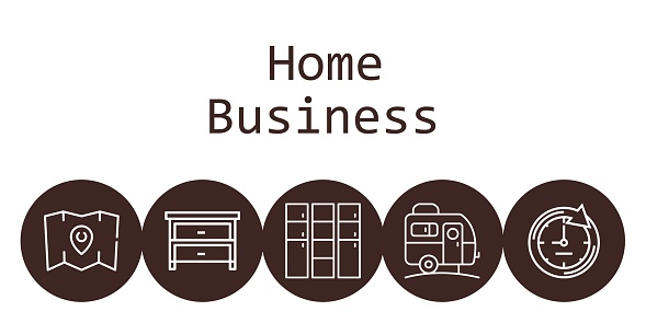 home business background concept with home business icons. Icons related caravan, drawer, clock, map, locker