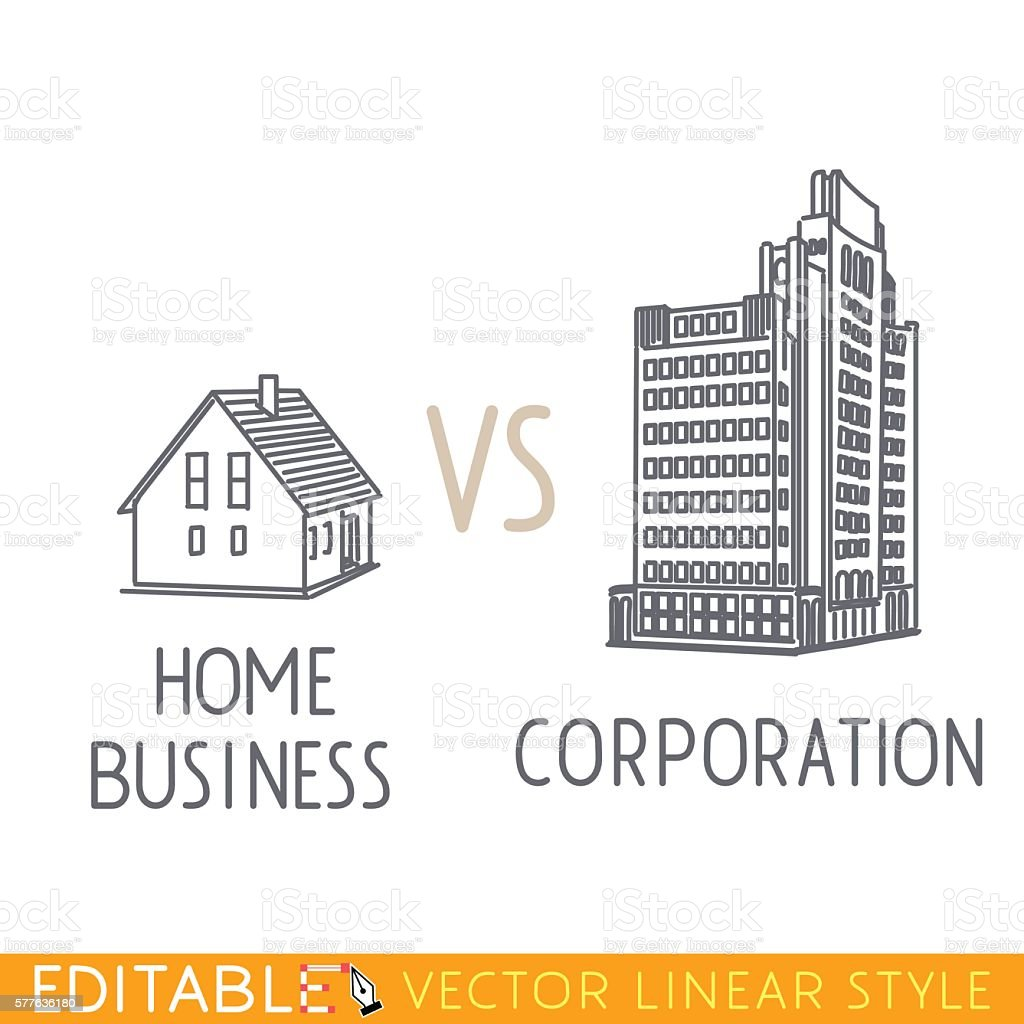 Home business vs Corporation. Buildings small company big corp. Commerce vector art illustration