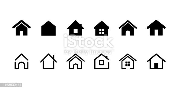 istock Home Button. Home page. Collection of Home Icons. Vector web home icon, building symbol. House 1163930444