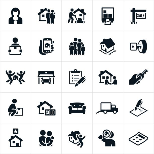 home buying icons - new home stock illustrations