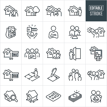 Home Buying Thin Line Icons - Editable Stroke