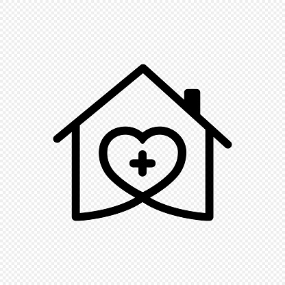 Home care icon. Medical house logo. Vector on isolated transparent background. EPS 10