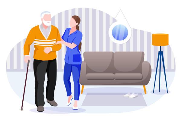illustrations, cliparts, dessins animés et icônes de services de soins à domicile pour les aînés. infirmière ou bénévole s'occupant d'un homme âgé. illustration de caractères de vecteur - aide soignant