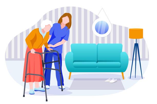 illustrations, cliparts, dessins animés et icônes de services de soins à domicile pour les aînés. infirmière ou bénévole s'occupant d'une femme âgée. illustration de caractères de vecteur - aide soignant