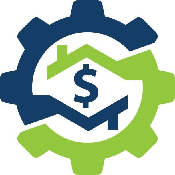 Home Cash Gear vector art illustration