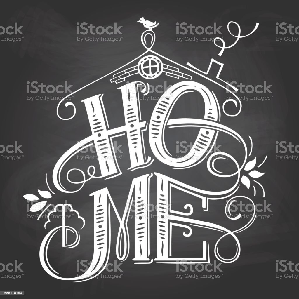 home chalkboard sign handlettering stock vector art more images of