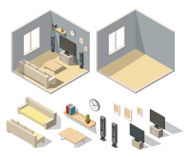 ilustrações de stock, clip art, desenhos animados e ícones de home cinema room interior isometric set - obras em casa janelas
