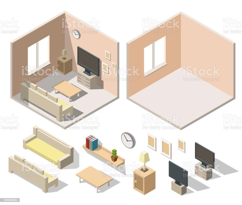 Home Cinema Room Low Poly Interior Isometric Set Stock Vector Art ...