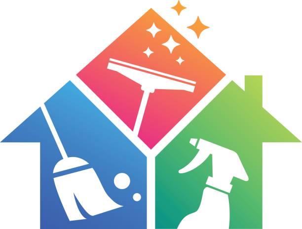 stockillustraties, clipart, cartoons en iconen met schoonmaken van het huis. schoonmaak service. gebouw schoonmaken - opruimen