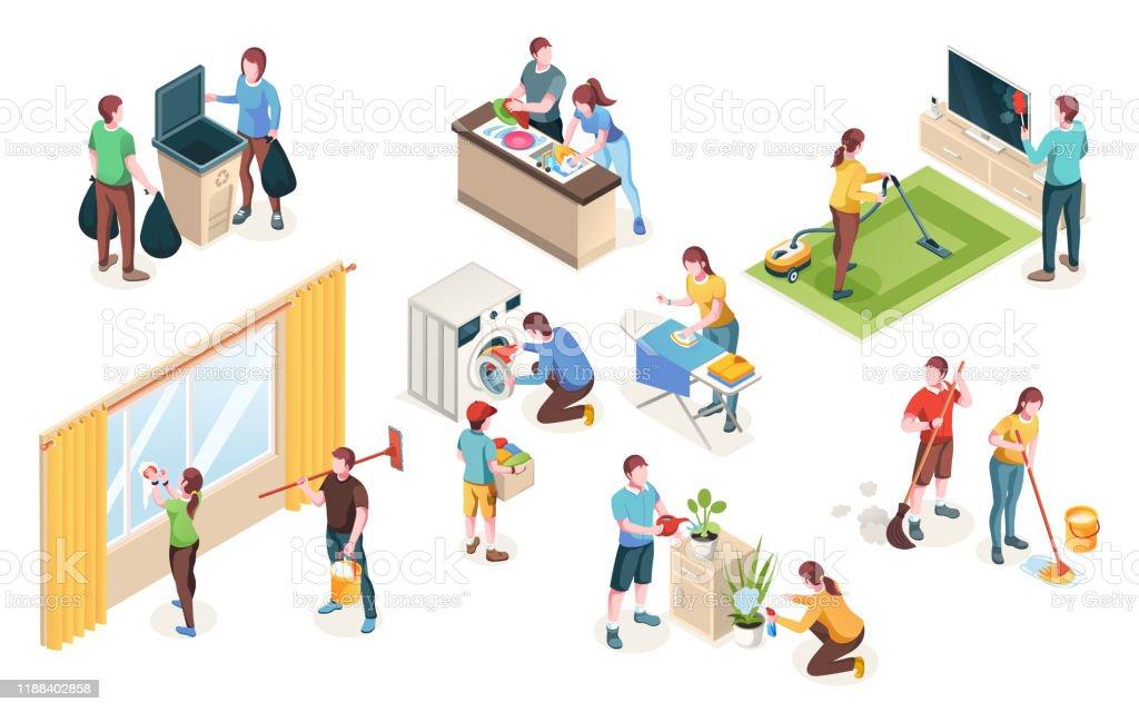 Home Cleaning, Vector geïsoleerde iconen van man en vrouw paar schoon huis samen. Was-en afwas in de keuken, watertanden en schoonmaak ramen, dweil vloer en strijken - Royalty-free Afval vectorkunst