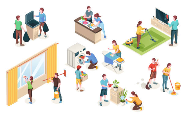 Home cleaning, vector isolated icons of man and woman couple clean house together. Laundry and dish washing at kitchen, watering flowers and cleaning windows, mopping floor and ironing Home cleaning, vector isolated icons of man and woman couple clean house together. Laundry and dish washing at kitchen, watering flowers and cleaning windows, mopping floor and ironing chores stock illustrations