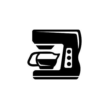 Home Coffee Machine, Espresso Maker. Flat Vector Icon illustration. Simple black symbol on white background. Home Coffee Machine, Espresso Maker sign design template for web and mobile UI element.