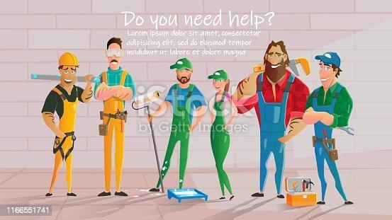 Home Repair, Construction Contractors, Plumbing Service Cartoon Vector Poster Template. Workers Characters in Uniform, Repairmen, Painters, Plumbers Team Standing Together near Brick Wall Illustration