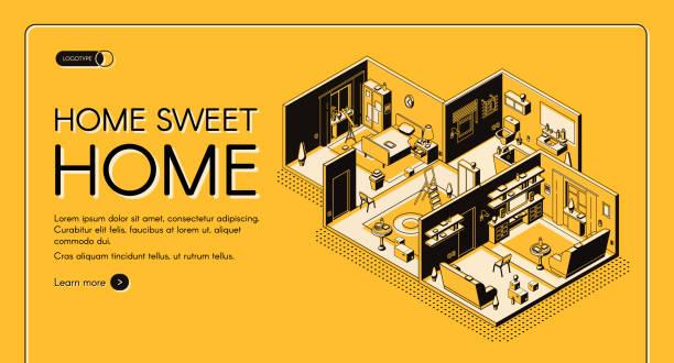 Home construction plan isometric vector website vector art illustration