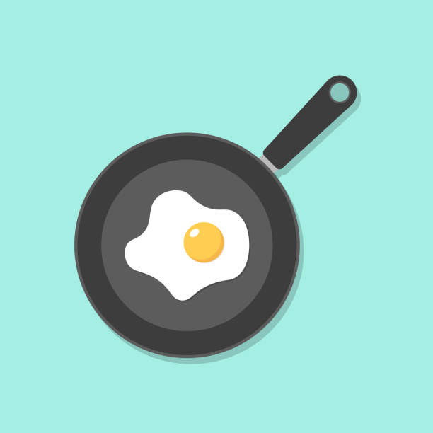 Home cooked food, fried eggs, fried eggs in frying pan, healthy breakfast, home cooking breakfast in cafe, omelet icon. Home cooked food, fried eggs, fried eggs in frying pan, healthy breakfast, home cooking breakfast in cafe, omelet icon. frying pan stock illustrations