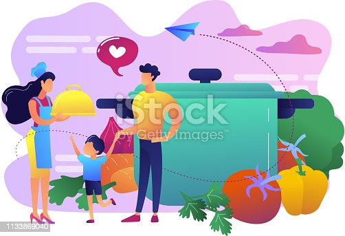 Tiny people family waiting for wife in apron cook tasty food and big pot, vegetables. Home cooking, home foods recipes, family time activity concept. Bright vibrant violet vector isolated illustration