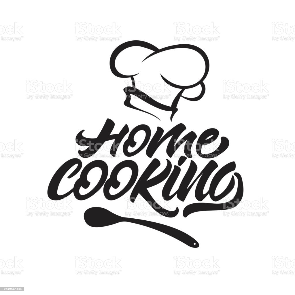 Home cooking lettering icon with chef's hat . Vector illustration.