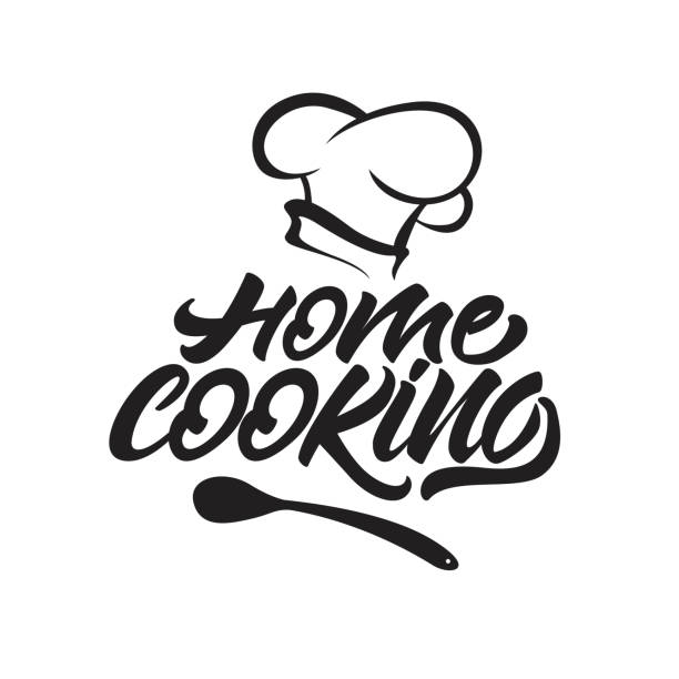 home cooking lettering icon with chef's hat . vector illustration. - chef stock illustrations, clip art, cartoons, & icons