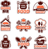 Home cooking logo. Kitchen badges vector collection bakery silhouettes vector illustrations. Kitchen home made, apron for cooking homemade