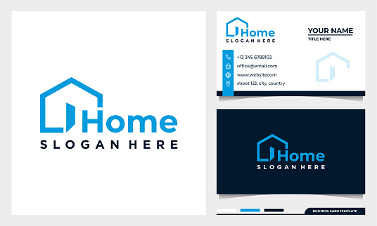 Home creative symbol concept. open door, building enter, real estate agency abstract business logo with business card template