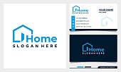 istock Home creative symbol concept. open door, building enter, real estate agency abstract business logo with business card template 1278575403