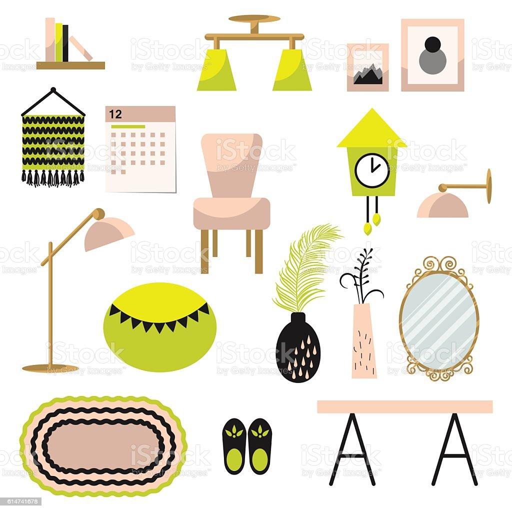 Home Decor And Furniture Vector Set Flat Style Stock Vektor Art und mehr  Bilder von Architektur