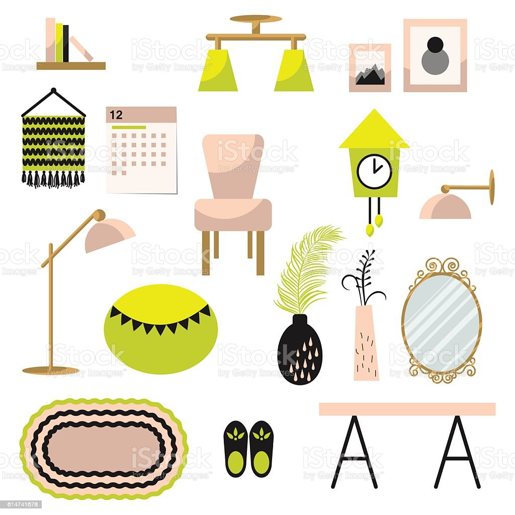 Home decor and furniture vector set flat style vector art illustration