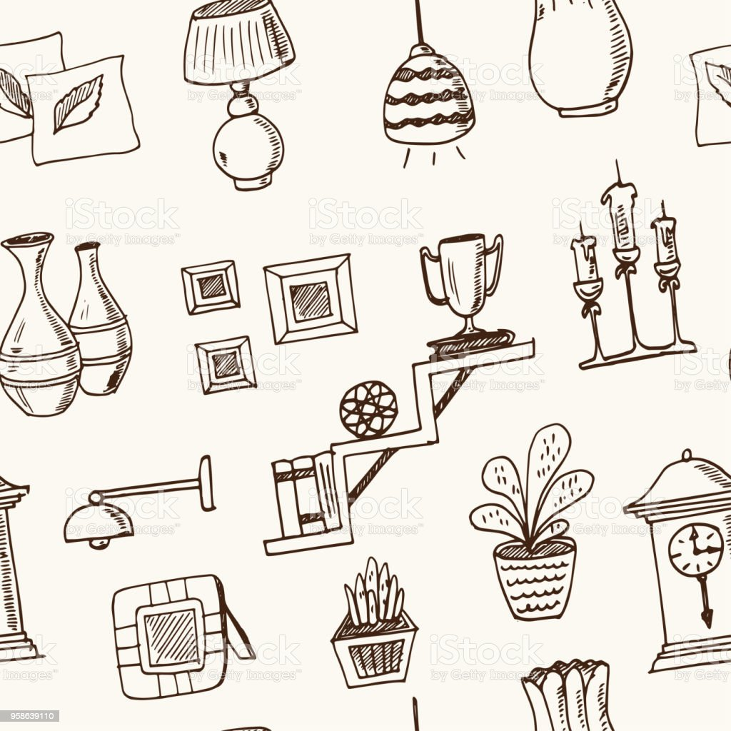 Home Decor Hand Drawn Doodle Seamless Pattern Sketches Vector